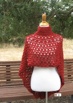 CIRCULAR RED PONCHO Crochet Capelet Mandala Chic by marianavail, $40.00