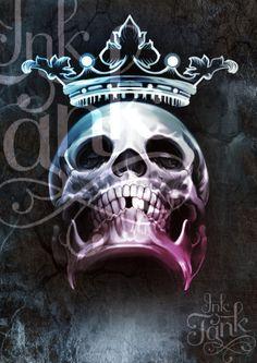 Crowned-digital illustration art skull and crown