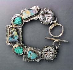 Boulder Opal and Turquoise Bracelet 2 by Temi on Etsy, $260.00