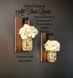 LOOK NO FURTHER!! YOU HAVE FOUND THE #1 LIGHTED SCONCE ON ETSY! THIS IS WHERE IT ALL GOT STARTED! ♥♥:) Each board is made of quality and has a thickness of 3/4 inch!! This listing is for a Set of 2 stunning Hanging Mason Jar Sconces. These sconces are hand crafted with the best