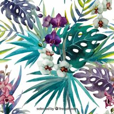 Pattern Orchid Hibiscus Leaves Watercolor Tropics Stock Illustration - Illustration of element, painting: 47666586 Watercolor Stickers, Watercolor Walls, Watercolor Pattern, Watercolor Flowers, Watercolor Design, Tropical Flowers, Tropical Plants, Hibiscus Leaves, Orchid Leaves