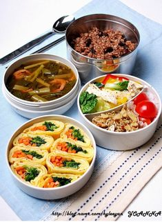Korean style lunch box - Rice with mixed grains, Korean miso soup, Salad, Stir-fried dried anchovy, Egg rolls