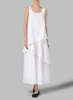 White Linen Sleeveless Layered Lightweight Dress -  Approach your adventure the breezy swap of this regular fit that has a modern cut that hugs the body while still leaving room for movement.