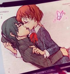 【Where the Wildflowers Grow 🌼】 Persona 3 Portable, Relationship Drawings, Qinni, Crying Face, Anime Kiss, Persona 5, Anime Couples, Kawaii Anime, All About Time
