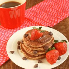 Breakfast for your sweethearts: CHOCOLATE WHOLE WHEAT PANCAKES | @tspcurry For more healthy Valentine recipes: TeaspoonOfSpice.com