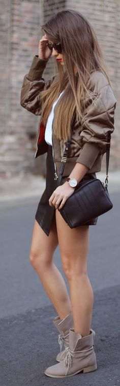 Brown Quilted Puffer Bomber Jacket