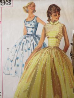 Vintage Simplicity 2093 Sewing Pattern, 1950s Dress Pattern, Midriff Detail, Full Skirted, 1950s Sewing Pattern, Bust 34 Inches