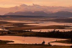 The Hazards loom over Moulting Lagoon on Tasmania's east coast