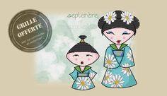 Grille du mois offerte : la kokeshi marguerite