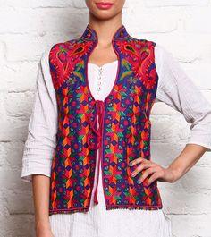 Blue & Multicoloured Phulkari Embroidered Khadi Cotton Jacket