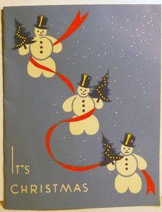 1940s Art Deco Snowmen Vintage Christmas Card