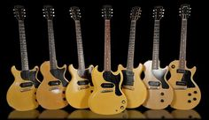 A whole line of Les Paul Juniors and Specials. All in TV Yellow.