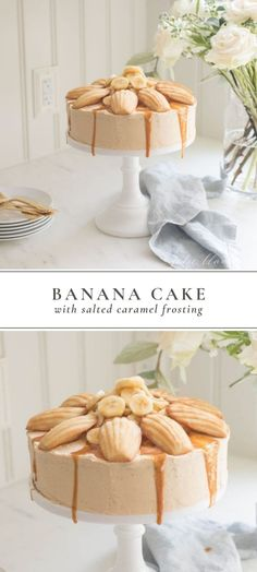 Incredibly easy, incredibly good Banana Cake Recipe with a few fall twists. The addition of thick, creamy salted caramel frosting. #bananacake #cake #dessert #saltedcaramelfrosting #dessertrecipe #frostingrecipe
