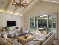 Modern Farmhouse: Family Room 2 - bring the outdoors in, light and airy with large windows, sliding doors