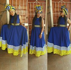 @louloumakubalo Xhosa Attire, African Attire, African Wear, African Fashion Dresses, African Dress, African Clothes, Fashion Outfits, Sepedi Traditional Dresses, Traditional Fashion