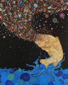 As today is #EarthDay, take a look at this striking and critical 'Gyre' by Fred Tomaselli, breaching the water and spewing trash. This work is part of @artworksforchange, a nonprofit organization 'that creates contemporary art exhibitions and creative place-making projects to address critical social and environmental issues'. #art #fish #environment #animal #wildlife #nature #pollution #trash #peril #danger #ocean #google #culture