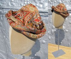 vintage 1950s hat / 50s turban / Paisley Pointy Cocktail Hat