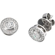Cercei Aur Alb cu Diamante Rotund Briliant in Setare Rub-Over & Gheare