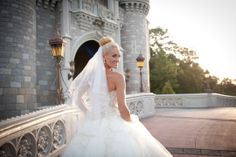 The perfect photo for a princess on her big day #Disney #wedding #Cinderella #castle