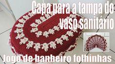 Capa de crochê para a tampa do vaso sanitário - Jogo de banheiro Folhinh...