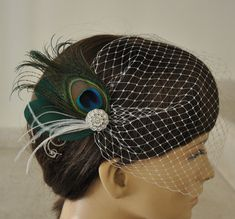 Peacock+Bridal+Veil | Birdcage Veil ,peacock Feathers Fascinator,(2 ITEMS), bridal Feathers ...