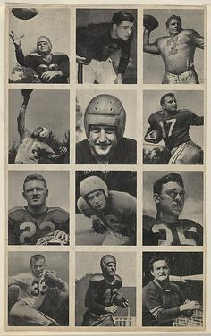 Issued by Bowman Gum Company. Sheet of 12 uncut football cards, from the Bowman Football series (R407-1) issued by Bowman Gum, 1948. The Metropolitan Museum of Art, New York. The Jefferson R. Burdick Collection, Gift of Jefferson R. Burdick (Burdick 327, R407-1.6) #MetGridironGreats