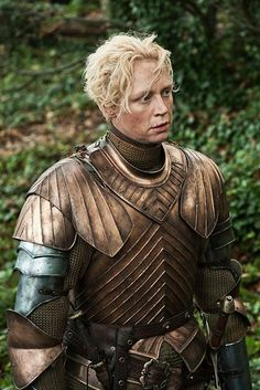 "Gwendolyn Christie as the warrior Brienne of Tarth, from HBO's ""Game of Thrones"". Game Of Thrones Brienne, Game Of Thrones Tv, Game Of Thrones Characters, Game Of Thrones Sword, Valar Morghulis, Brienne Von Tarth, Lady Brienne, Tyron Lannister, Costumes Game Of Thrones"