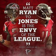 Atlanta Falcons Matt Ryan to Jones is the envy of the league Falcons Football, Braves Baseball, Football Boys, Falcons Gear, Nfl Divisions, Atlanta Falcons Rise Up, Football Is Life, Football Season, Nfl Championships