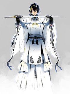 Mikazuki in white Manga Boy, Manga Anime, Anime Art, Touken Ranbu Mikazuki, Another Anime, Bishounen, Japanese Outfits, Manga Illustration, Manga Comics