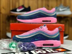 6c8e24ee8de1 Nike Air Max 97 1 Sean Wotherspoon Pink Black Green AJ4219 405 Sneaker  Women s Running