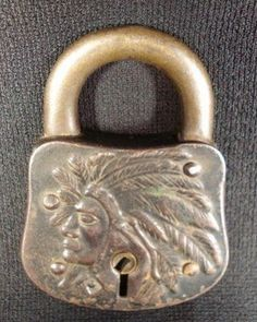 Indian Head padlock... Antique Keys, Vintage Keys, Antique Hardware, Door Knob Lock, Door Knobs And Knockers, Under Lock And Key, Key Lock, Safe Lock, Old Keys