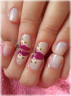 Nail patterns or nail art is an extremely hassle-free concept - patterns or art which is used to embellish the finger or toe nails. You can use them mostly to enhance a dressing up or improve a daily look. French Tip Nail Designs, Classy Nail Designs, French Tip Nails, Toe Nail Designs, Super Cute Nails, Pretty Nails, Fancy Nails, Diy Nails, Pink Nail Art