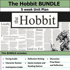 the hobbit book projects hobbit book book projects and hobbit the hobbit unit 5 weeks of lesson plans includes pacing guide film essay activities reading quizzes and discussions this bundle has everything you