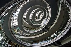 The interior spiral staircase of London's City Hall, designed by Norman Foster.