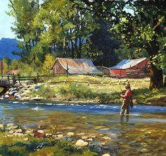 """""""Bringing one in"""". Fly fishing painting by Brett J Smith - """"Bringing one in"""". Fly fishing painting by Brett J Smith - Fishing Boats, Fishing Lures, Fly Fishing, Fishing Trips, Outdoor Art, Outdoor Life, Trout Fishing Tips, Salmon Fishing, Fishing Pictures"""