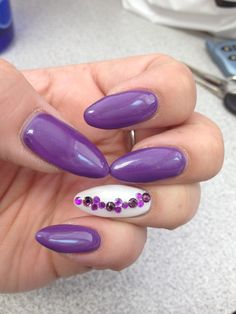 Stiletto nails purple white rhinestones pretty spring