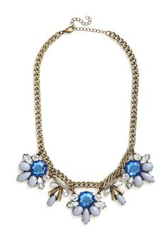 Every Now and Gem Necklace. Ever notice how there are some evenings when you cant remove the smile on your face? #blue #modcloth