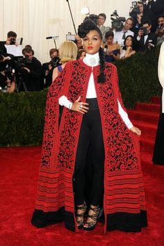 The Best of the Met Gala Red Carpet Janelle Monae in Tadashi Shoji @ Met Gala Monae in Tadashi Shoji @ Met Gala 2014 Met Gala Red Carpet, Red Carpet Gowns, Grey Carpet, Afro, Moda Fashion, Womens Fashion, High Fashion, Vogue, Look Chic