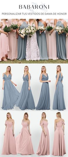 8900fff69 Una serie de vestidos de dama de honor de azul polvoriento y rubor rosa