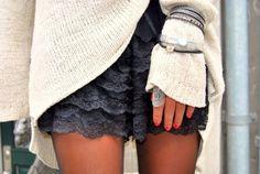 knit sweater, lace shorts & jewelry