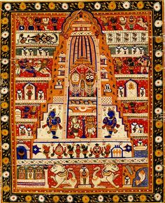 Diagrammatic painting, Jagannath temple at Puri, opaque watercolour on cloth, Puri, early 20th century