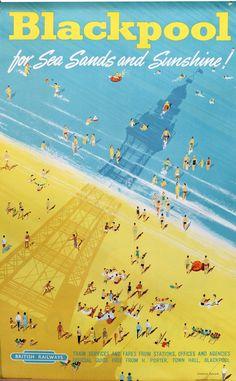 Home interior design.British Blackpool - Beach Canvas - Ideas of Beach Canvas - Decor Poster.Home interior design. Posters Uk, Train Posters, Railway Posters, Vintage Travel Posters, Modern Posters, Vintage Ski, Vintage Games, Vintage Dress, Vintage Prints