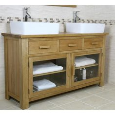Finesse Large Oak Bathroom Vanity Unit Looks Beautiful