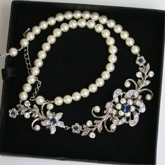 Bridal Necklace Pearl Wedding jewlery Montana Blue by LuluSplendor, $89.00
