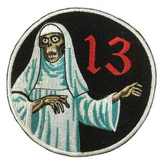 """Pulp Patch #2"" Available online!  Order yours today!  https://shop.scumbagsandsuperstars.com/collections/color-patches/products/pulp-patch-zombie-nun-horror-graphic"