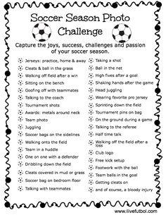 Soccer Season Photo Challenge- capture the magic and memories of your soccer season! www.ilivefutbol.com
