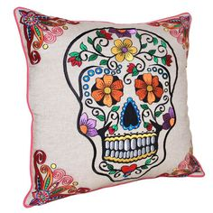 sugar skull embroidery pattern | Sugar Skull Pillow Multi multi, karma living, pillows & throws