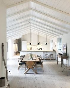 House In The Woods, House By The Sea, Danish Interior Design, Scandinavian Cottage, A Frame House, Cottages By The Sea, Living Area, Interior And Exterior, Kitchen Decor