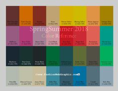 SpringSummer2018 Trend Forecasting for Women, Men, Sports and Intimate apparel - SS2018 Color Reference. www.FashionWebGraphic.com
