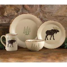 Rustic Retreat Moose and Tree Stoneware Dinnerware Set $175